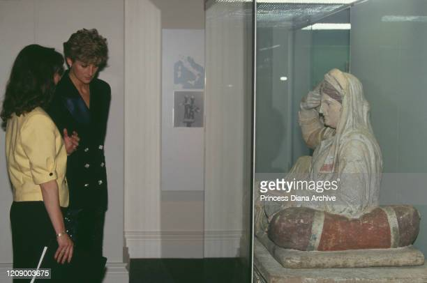 Diana Princess of Wales at the British Museum in London for the opening of an exhibition June 1991 She is wearing a suit by Victor Edelstein and...