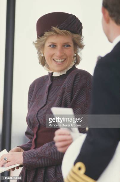 Diana, Princess of Wales at the commissioning of the Royal Navy frigate 'HMS Cornwall' in Falmouth, Cornwall, 23rd April 1988. She is wearing a suit...