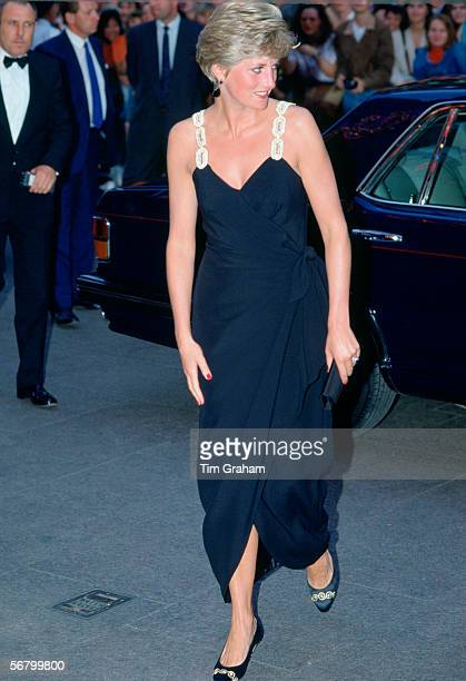 Diana Princess of Wales at the film premiere of 'Backdraft' Diana is wearing a dress designed by David Sassoon and Lorcan Mullany for Bellville...