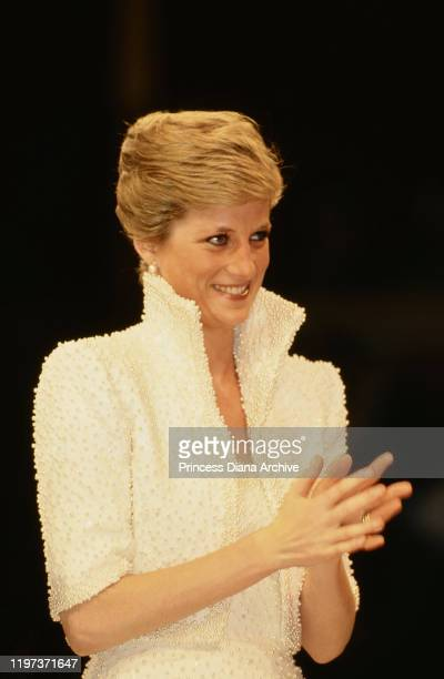 Diana, Princess of Wales at the first British Fashion Awards at the Royal Albert Hall in London, 17th October 1989. She is wearing a white gown by...