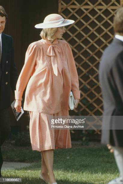 Diana, Princess of Wales at the Guards Polo Club in Windsor, June 1984. She is pregnant with Prince Harry, and wearing a Jan Van Velden maternity...
