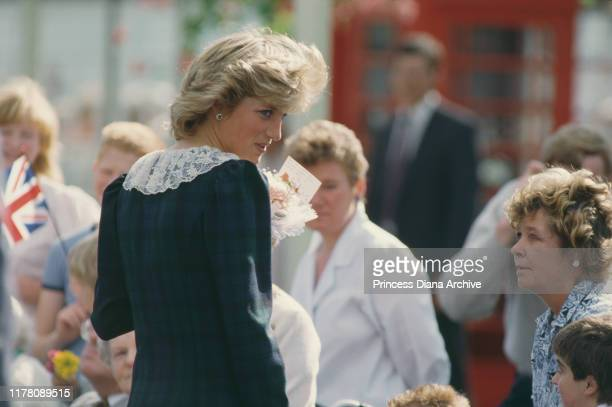 Diana, Princess of Wales at the Highland Games in Scotland, August 1987.