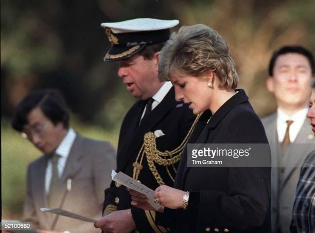 Diana, Princess Of Wales, At The Hodogaya War Cemetery In Tokyo, Japan.