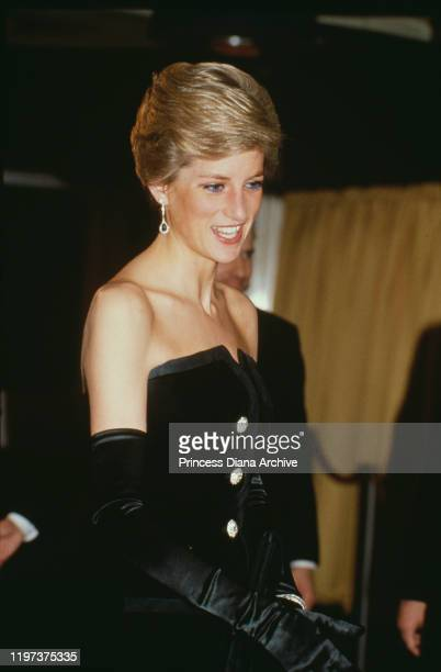 Diana, Princess of Wales at the premiere of the film 'Dangerous Liaisons' in London, 6th March 1989. She is wearing a black evening gown by Victor...