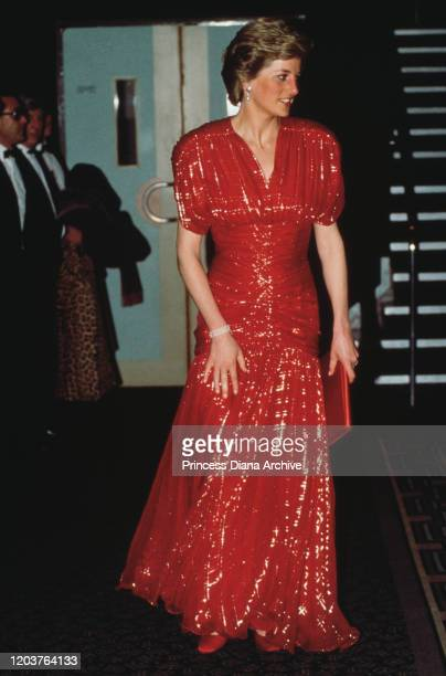 Diana Princess of Wales at the premiere of the film 'When Harry Met Sally' in London November 1989 She is wearing a red evening gown by Bruce Oldfield