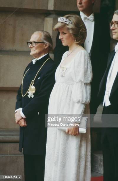 Diana, Princess of Wales at the Royal Academy of Arts in London, whilst pregnant with Prince Harry, May 1984. She is wearing the Spencer tiara and a...