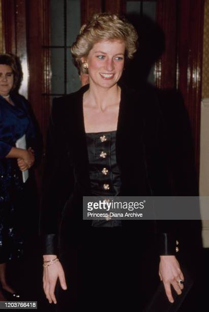 Diana, Princess of Wales at the Royal Albert Hall in London for a charity concert in aid of the Royal Marsden Hospital, a specialist centre for the...