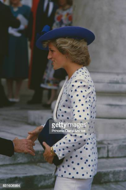 Diana princess of Wales at the Royal College of Music wearing an outfit designed by fashion designer Jan Van Velden 1985