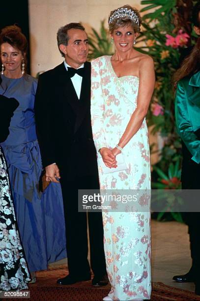 Diana Princess Of Wales Attending A Banquet At The Itamarati Palace The President Of Brazil's Official Residence The Princess Is Wearing And Ivory...