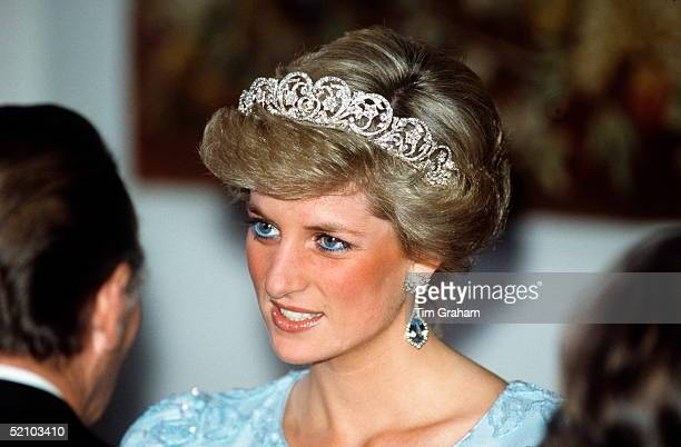 Diana Princess Of Wales Attending A Banquet In Munich Germany Wearing The Spencer Tiara