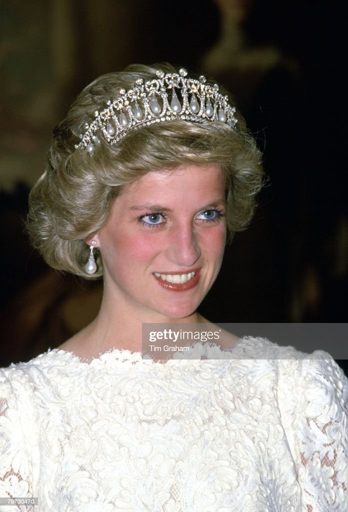Diana, Princess of Wales, attending a dinner at the British : News Photo