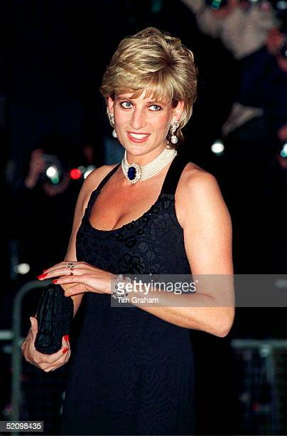 Diana Princess Of Wales Attending A Gala Evening In Aid Of Cancer Research At Bridgewater House In London The Princess Is Wearing A Dress Designed By...