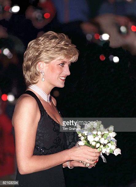 Diana Princess Of Wales Attending A Gala Evening In Aid Of Cancer Research At Bridgewater House London Sw1 The Princess Is Wearing A Dress Designed...
