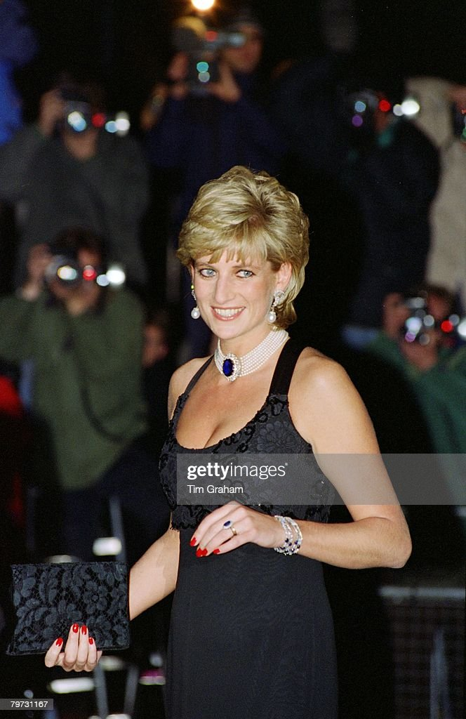 Diana, Princess of Wales attending a Gala evening in aid of Cancer Research at Bridgewater House in London, Her dress has been designed by Jacques Azagury