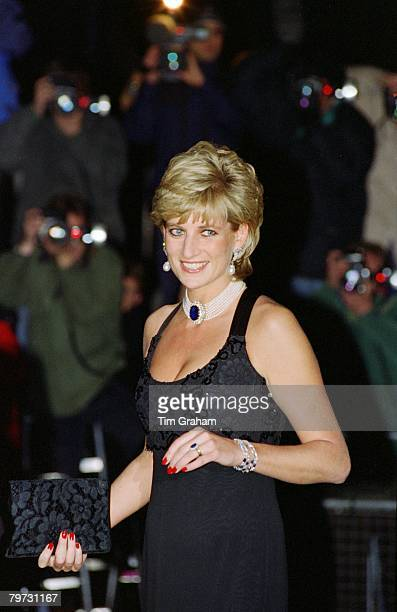 Diana Princess of Wales attending a Gala evening in aid of Cancer Research at Bridgewater House in London Her dress has been designed by Jacques...