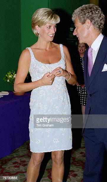 Diana Princess of Wales attending a private viewing of the dresses that are for auction and reception at Christie's in aid of the Aids Crisis Trust...