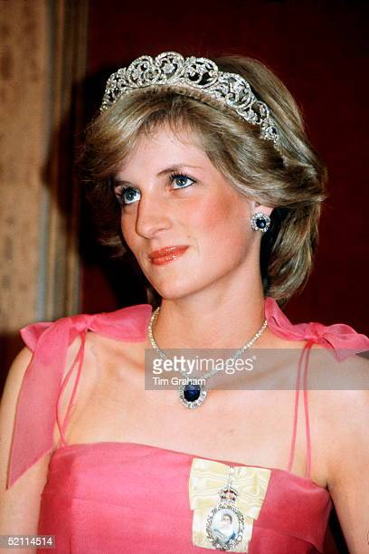 Diana Princess Of Wales Attending A Reception At The Crest International Hotel Brisbane Australia Wearing The Spencer Tiara The Royal Family Order Of...