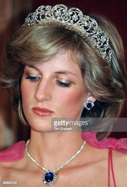Diana Princess of Wales attending a reception at the Crest International Hotel during her official tour of Australia The Princess is wearing the...
