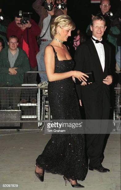 Diana Princess Of Wales Attending The 100th Birthday Celebration Of The Tate Gallery In London Wearing A Dress Designed By Fashion Designer Jacques...