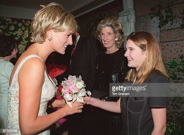 Diana, Princess Of Wales Attending The Christies Gala Party To Launch The Sale Of Her Dresses By Auction For Charity. Joanna Lewis Is Presenting The...
