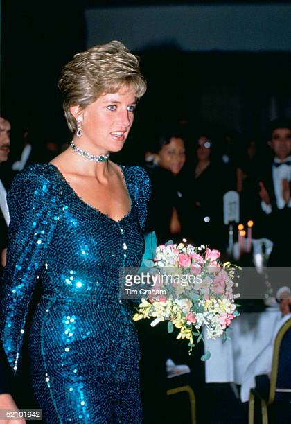 Diana Princess Of Wales Attending The Diamond Ball At The Royal Lancaster Hotel In Aide Of The Charity Sane Of Which Her Husband Is Patron The...