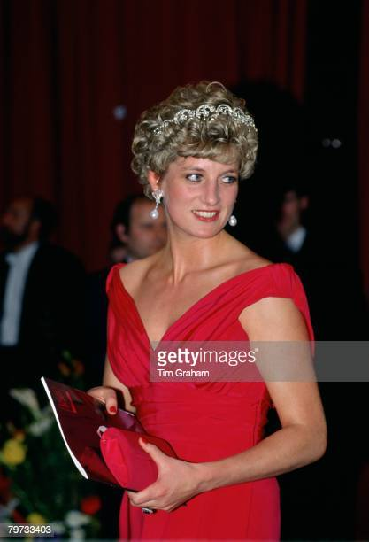 Diana Princess of Wales attending the English National Ballet gala performance in Budapest She is wearing the Spencer family tiara