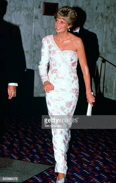 """Diana, Princess Of Wales, Attending The Film Premiere At The Empire Cinema In Leicester Square Of """"stepping Out"""" To Raise Funds For The Trust For..."""