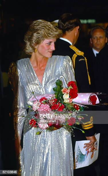 Diana Princess Of Wales Attending The Film Premiere Of burke And Wills On 1st November During Her Official Tour Of Australia Wearing A Pleated Gold...