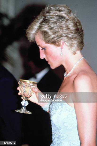 Diana, Princess of Wales, attends a banquet at the President's Palace during her visit to Cameroon on March 21, 1990 in Yaounde, Cameroon. The...