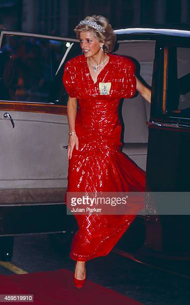 Diana Princess of Wales attends a Banquet during a State visit by the ruler of The UAE at Claridge's Hotel on July 20 1989 in London United Kingdom