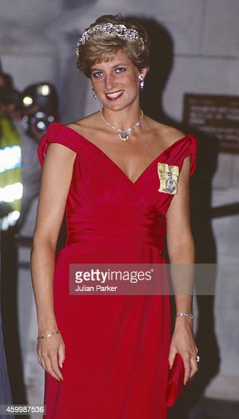 Diana Princess of Wales attends a Banquet during The Italian State visit to the UK in London on October 25 1990 in London United Kingdom