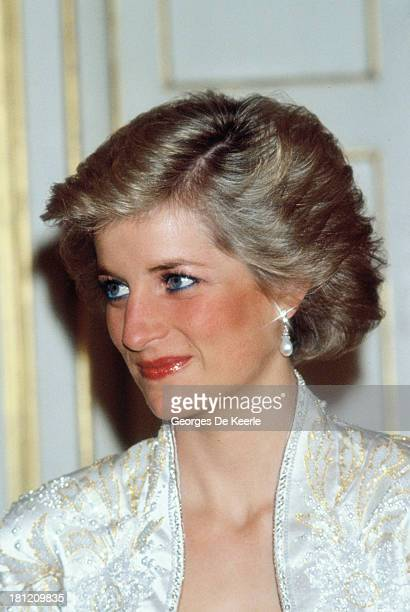 Diana Princess of Wales attends a banquet hosted by former French President Francois Mitterrand at the Elysee Palace during her official visit to...