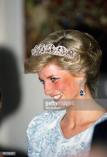 Diana Princess of Wales attends a banquet in Munich during her official tour of Germany The Princess is wearing the Spencer tiara a family heirloom...