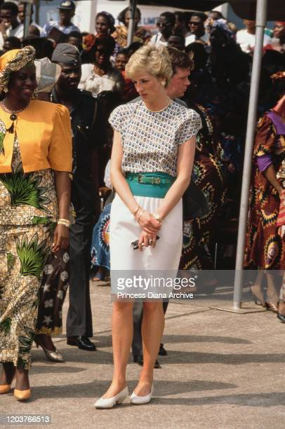 Diana Princess of Wales attends a Better Life For Rural Dwellers women's fair in Tafawa Balewa Square Lagos Nigeria accompanied by Maryam Babangida...
