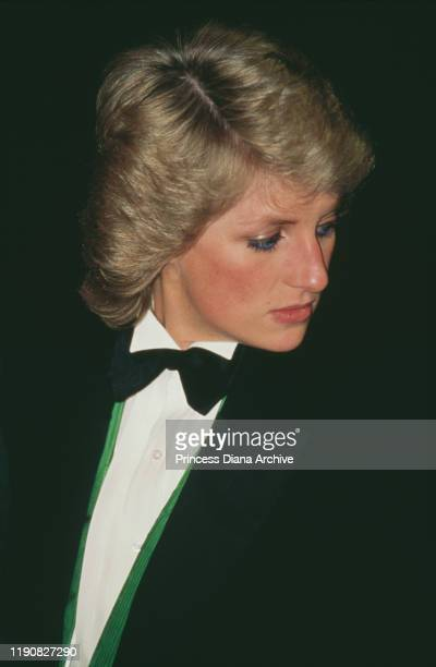 Diana, Princess of Wales attends a charity greyhound racing event at Wembley Stadium in London, UK, 20th April 1988. She is wearing a green Hackett...