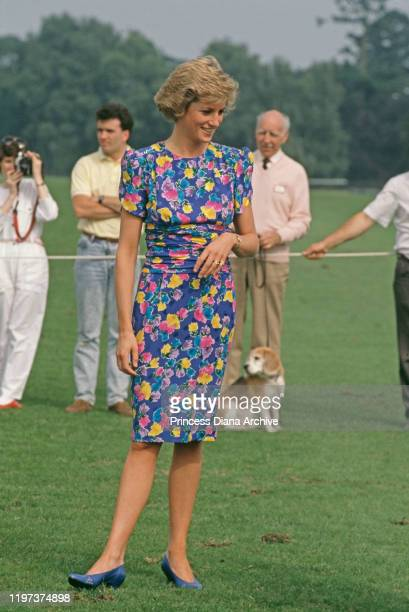 Diana, Princess of Wales attends a charity polo match sponsored by 'Hello' magazine at the Guards Polo Club in Windsor, UK, 29th June 1988. She is...