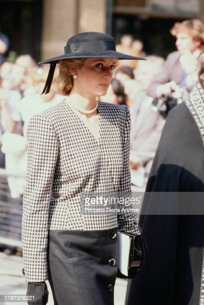 Diana Princess of Wales attends a church service in London for the victims of the 'Marchioness' boating disaster on the River Thames 18th September...