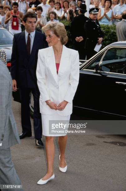 Diana, Princess of Wales attends a concert for the Prince's Trust charity at The National Exhibition Centre in Birmingham, UK, 19th July 1989. She is...