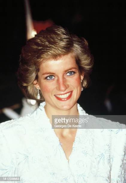 Diana Princess of Wales attends a dinner at the Chateau de Chambord during her official visit to France on November 9 1988 in Chambord France The...