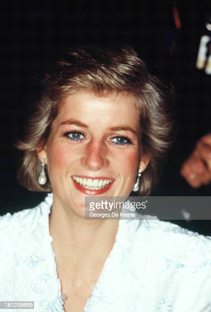 Diana Princess of Wales attends a dinner at the Chateau de Chambord during her official visit to France on November 9 1988 in Chambord France