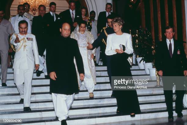 Diana, Princess of Wales attends a dinner held by Nawaz Sharif , the Prime Minister of Pakistan, in Islamabad, Pakistan, September 1991. On the right...