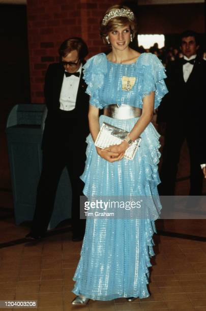 Diana, Princess of Wales attends a formal dinner at the Saint John Convention Centre in Saint John, New Brunswick, Canada, 18th June 1983.