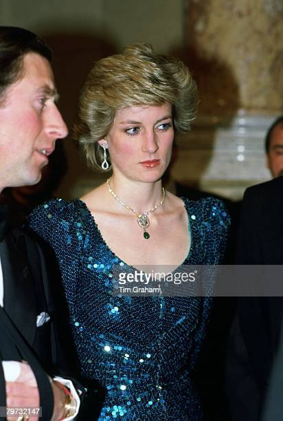 Diana Princess of Wales attends a gala at the Vienna Burgh Theatre during a visit to Austria