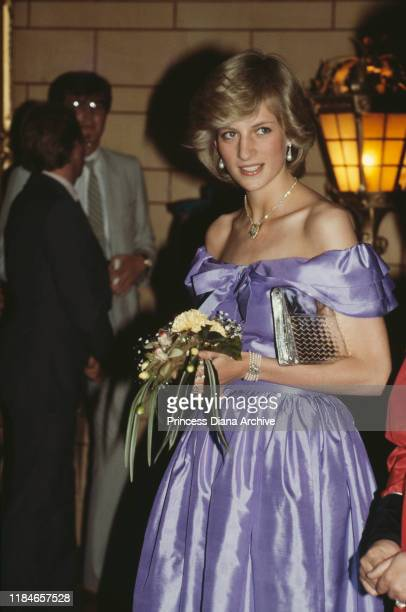 Diana, Princess of Wales attends a gala ballet performance in Auckland, New Zealand, April 1983. She is wearing an evening gown by Donald Campbell.