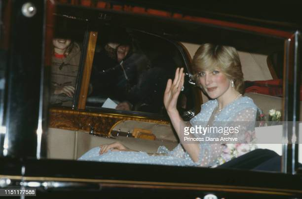 Diana, Princess of Wales attends a gala opera in Cardiff, Wales, 29th October 1982. She is wearing a gown by David Emanuel.