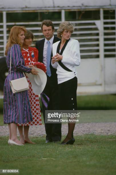 Diana Princess of Wales attends a Guards Polo Club match at Smiths Lawn with Sarah Duchess of York Windsor 29th May 1985 The princess is wearing a...