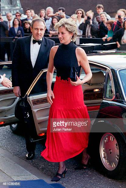 Diana, Princess of Wales attends a Pavarotti Concert, at The Royal Albert Hall, on May 8, 1995 in London, United Kingdom.