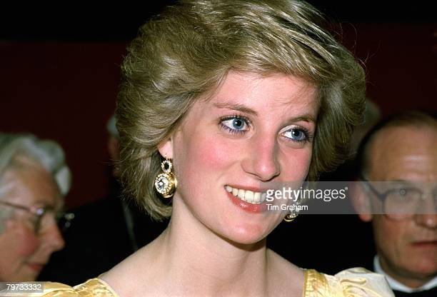 Diana Princess of Wales attends a performance at the Barbican