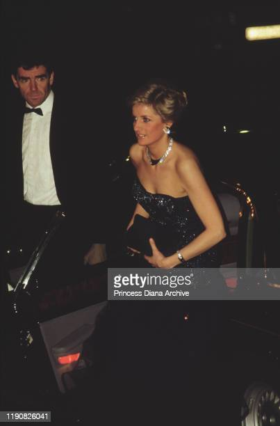 Diana, Princess of Wales attends a performance of the ballet 'Cinderella' at the Royal Opera House in Covent Garden, London, December 1987.