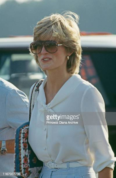 Diana Princess of Wales attends a polo match at Cowdray Park Polo Club in West Sussex on her second wedding anniversary 29th July 1983
